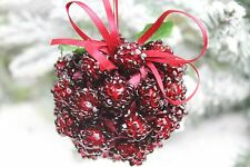 GISELA GRAHAM CHRISTMAS ACRYLIC LOGAN BERRY KISSING BALL CLUSTER DECORATION X 2