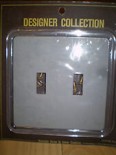 GENUINE ACRYLIC & GRAY  DOUBLE LIGHT SWITCH PLATE OUTLET COVER