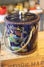 Vintage Baret Ware Biscuit Barrel / Tin – Dark Blue – Oriental Designs – Retro!