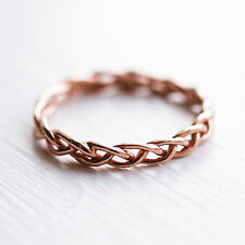 Rose Gold Sterling Silver Twisted Rope Above Knuckle Ring Band Midi 925 Nautical