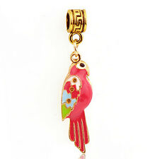 1Pcs Pretty Red Parrot Charms Silver Pendant bead For Chain Bracelet/Necklace