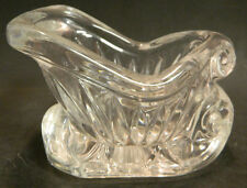 "Vintage 24% Leaded Crystal Sleigh Candy Bowl Dish 4.5"" x 5.5"" x 3.5"" Excellent"