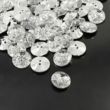 100pcs Acrylic Rhinestone Buttons Clear 2-Hole Faceted Flat Round Garment Sewing