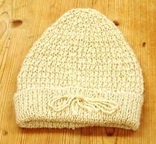 Alpaca Hand Knitted  Cream Beanie Hat
