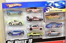 HOT WHEELS 10 CAR PACK DATSUN 510 ACURA CAMARO '56 MERC DODGE