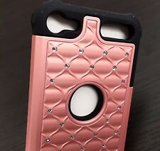 For iPod Touch 5th 6th Gen - HARD&SOFT HYBRID DIAMOND BLING CASE ROSE GOLD BLACK