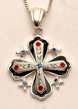 Jerusalem Cross Black Pendant With Swarovski Colors Gemstone Sterling Silver