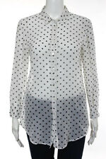 Theory White Silk Long Sleeve Button Down Polka Dot Blouse Top Size Small