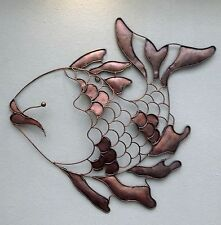 Color de cobre inusual Metal feliz peces De Pared Arte-Hecho a Mano Bali Pared Arte