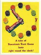 Metal Sign 12414 04 Rowntrees Fruit Gums Last Round The Clock 1950S A4 12x8 Alum