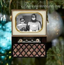 Holy Cow! Batman Wood Vintage Look Television Set Christmas Holiday Ornament