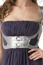 Sky Clothing Brand S Dress Gray Silver Leather Belt Summer Spring Party Vegas