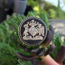Vintage Antique Silver Signet Coat of Arms Crest Onyx Stone Ring