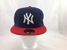 New Era 59Fifty NY New York Yankees MLB Fitted Cap hat Black Blue 7 1/8
