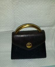 Albert Nipon  Vintage Snakeskin  Dark Brown Hand Bag. Brass  Handle