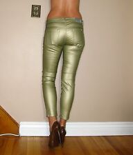 Seven 7 For All Mankind Leather-Look $198 Skinny Metallic Gold Coated Jeans 25