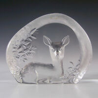 Mats Jonasson Glass Deer Paperweight #3283 - Signed