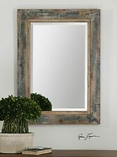 """38"""" RUSTIC SLATE BLUE WOOD RECTANGULAR BEVELED WALL MIRROR IVORY ACCENTS WESTERN"""