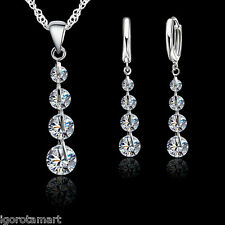 Women Lady Tear Drop CZ Gem Necklace Stud Earrings Jewelry Set Sterling Silver