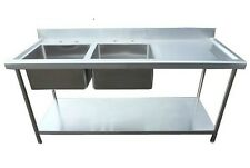 Stainless Steel catering sink Commercial Double bowl 1800mm Right hand drainer
