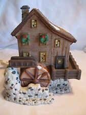Heartland Valley Lighted Christmas Village Building Water Wheel Mill House Owell