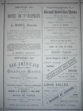GRANDE PUBLICITÉ ANCIENNE 1884 SAINT-RAPHAËL HOTEL BOFILS BAR AMERICAIN
