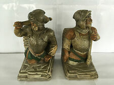 VINTAGE 1970s ANN'S ORIGINAL CONQUISTADOR SOLDIER BOOKENDS CERAMIC DETAILED! VGC