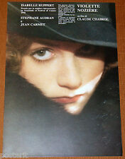 brochure film VIOLETTE NOZIERE Claude Chabrol Isabelle Huppert 1979