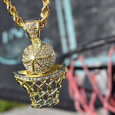 "Basketball Pendant Chain 30"" Iced-Out Basket Ball Hoop Gold Finish Rope Necklace"