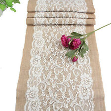 5x 108CM Vintage Burlap Lace Table Runner  TableCloth Wedding Decorations USA