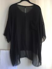 RAQUEL ALLEGRA 1 Black 100% Silk Sheer Top Short Sleeve Oversized Front Pocket