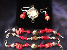 Quartz  Woman's Watch with 3 Bands & Matching Earrings **Genuine Coral**  ME014