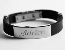 ANDREAS - Mens Silicone & Silver Name Plate Engraved Bracelet - Identity Wedding