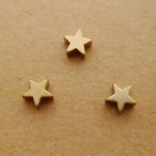 30pcs 6mm Yellow Raw Brass Star Beads Pendants Dangles Hole 1mm Top Drilled