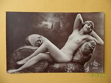 Original 1910's-1920's Postcard Nude Risque Seductive Lady Laying Down #33