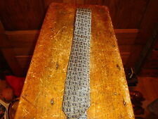 Max Adler Mens Necktie Tie Narrow Skinny Vintage Brown Tan Diamond 50s-60s