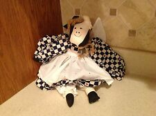 "Cow Rag Doll 16"" Cute Blue and White Checkered Dress White Eyelet Metal Cowbell"