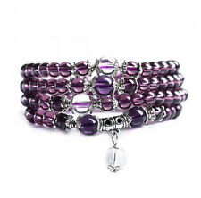 6mm stone Buddhist Amethyst 108 Prayer Beads Mala Bracelet Necklace