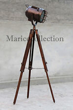 Handmade Studio Floor Lamp With Wooden Stand Nautical Marine Tripod Searchlight