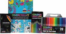 COLOUR THERAPY 4PC ADULT COLOURING BOOK XMAS GIFT SET PENCILS FIBRE FELT TIP PEN