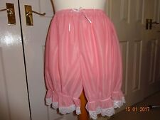 Pink nylon bloomers knickers sissy unisex adult baby panties sleep wear 30-38""