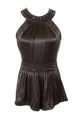 D10 BCBG  MaxAzria 100% Silk Black Beaded Fitted Top Halter Blouse 0 $298
