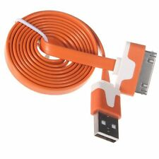 Orange 2m Noodle Data cable sync for Apple iPod iPhone 4S 4 4G 3GSIpad 2,3
