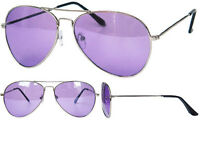 New Full Purple Tint Aviator Sunglasses Silver Frame With Black Pouch UV400 BNWT
