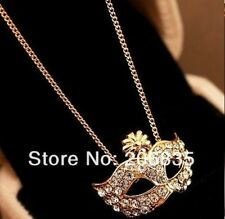 Fashion Cute Fox Mask Embedded Rinestone Short Paragraph Clavicle Necklace Gold