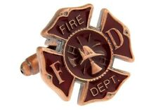 Fire Shield Cufflinks Bronze Red Fireman Wedding Fancy Gift Box Free Ship USA