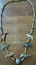 """Kitschy Vintage Wood Carved Animals Bead Necklace Fun Chunky & Quirky 34"""""""