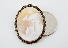 Antique 800 Silver Shell Cameo Marcasite Pin Brooch Pendant RARE Cottage Scene