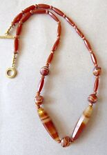 """Necklace of Vintage, Rare African Banded Agate, Carnelian Trade Beads/27"""""""
