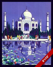 VINTAGE TAJ MAHAL PALACE INDIA VACATION TRAVEL AD POSTER ART REAL CANVAS PRINT